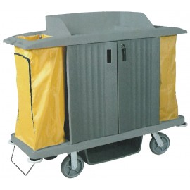 Janitor Cart with Locking Doors - High Capacity - Grey