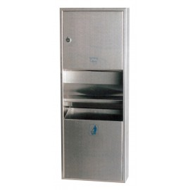 HAND TOWEL DISPENSER WITH TRASH CAN - MULTIFOLD - STAINLESS STEEL