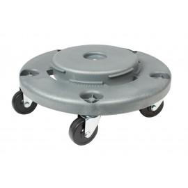 Socle 5 roues pour poubelle ronde - Gris pale