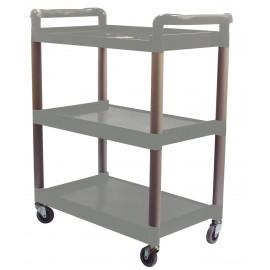 Chariot de service / utilitaire - 3 tablettes - 4 roues pivotantes - gris