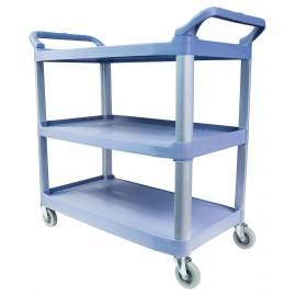 Chariot de service - large - 3 tablettes - de couleur bleu