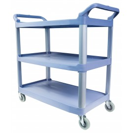 Service / Utility Cart - 3 Shelves - 4 Swivel Casters / Wheels - Blue