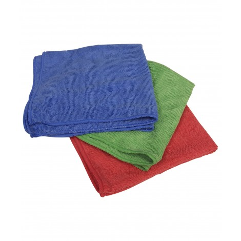 Multi-Purpose Microfiber Cloth - 16'' x 16'' (40.6 cm x 40.6 cm) - 3 Colors, Red, Green and Blue - Pack 0f 75 (25 of Each Color)