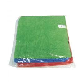 """Chiffons de microfibre en paquet de trois - 16"""" x 16""""- de couleurs rouge, vert et bleu"""