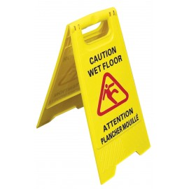 """Bilingual Floor Sign """" CAUTION WET FLOOR"""" - Two-Sided Imprint - Johnny Vac JS6111X - Yellow"""