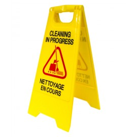 "Bilingual Floor Sign ""CLEANING IN PROGRESS"" - Two-Sided Imprint - Yellow"