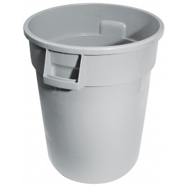 Round Trash Garbage Can Bin - 44 gal (167 L) - Grey