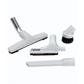 """Central Vacuum Brush Kit - 10"""" (25.4 cm) Floor Brush - Dust Brush - Upholstery Brush - Crevice Tool - Grey"""