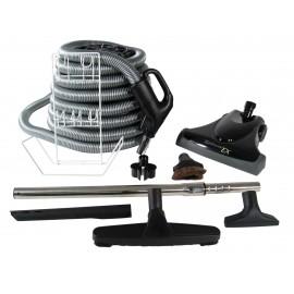 Central Vacuum Kit - 30' (9 m) Silver Hose - Turbocat EX Air Nozzle - Floor Brush - Dusting Brush - Upholstery Brush - Crevice Tool - Telescopic Wand - Hose and Tools Hangers - Black