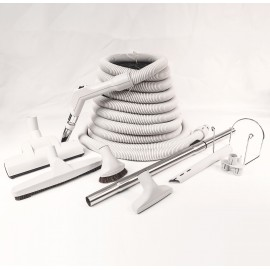 Central Vacuum Kit - 30' (9 m) Hose - Wessel-Werk Air Nozzle - Floor Brush - Dusting Brush - Upholstery Brush - Crevice Tool - Telescopic Wand - Hose and Tools Hangers - Grey