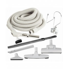 Central Vacuum Kit - 30' (9 m) Hose with Button Lock - Wessel-Werk Air Nozzle - Floor Brush - Dusting Brush - Upholstery Brush - Crevice Tool - Telescopic Wand - Hose and Tools Hangers - Grey
