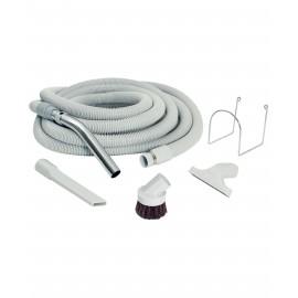 Central Vacuum Kit for Garage - 30' (9 m) Hose - Dusting Brush - Upholstery Brush - Crevice Tool - Metal Hose Hanger - Grey