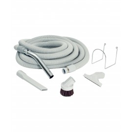Central Vacuum Kit for Garage - 30' (9 m) Hose with Button Lock - Dusting Brush - Upholstery Brush - Crevice Tool - Metal Hose Hanger - Grey