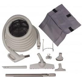 Central Vacuum Kit - 30' (9 m) Hose - Wessel-Werk Floor Brush - Dusting Brush - Upholstery Brush - Crevice Tool - Telescopic Wand - Hose and Tools Hangers - Grey