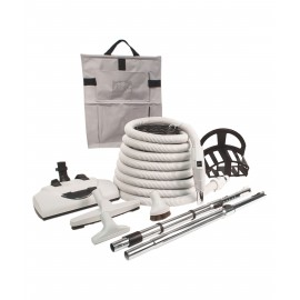 CENTRAL VACUUM KIT - 35' HOSE S VALVE - POWER NOZZLE PN360 WESSEL WERK - DELUXE TOOLS - GREY