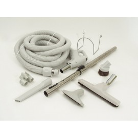 Central Vacuum Kit - 30' (9 m) Hose - Floor Brush - Upholstery Brush - Crevice Tool - Telescopic Wand - Hose and Tools Hangers - Grey