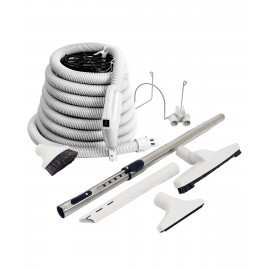 Central Vacuum Cleaner Kit - 35' (10 m) Hose Gas Pump Handle - Floor Brush - Dusting Brush - Upholstery Brush - Crevice Tool - Telescopic Wand - Plastic Tool Caddy on Wand - Metal Hose Hanger - Grey
