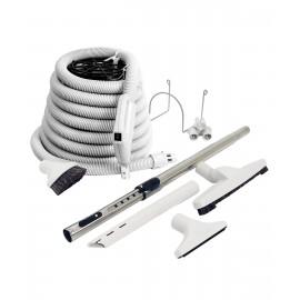 Ensemble pour aspirateur central - boyau de 10 m (35') poignée pompe à gaz - brosse à plancher - brosse à épousseter - brosse pour meubles - outil de coins - manchon télescopique - support à outils sur manchon - support à boyau en métal - gris