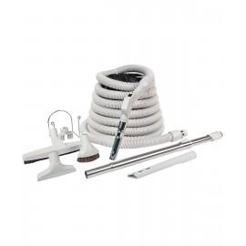 Ensemble pour aspirateur central - boyau de 10 m (35') avec bouton marche/arrêt - brosse à plancher - brosse à épousseter - brosse pour meubles - outil de coins - manchon télescopique - support à outils sur manchon - support à boyau en métal - gris