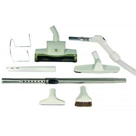 Ensemble pour aspirateur central - boyau 9 m (30') - balai à air - brosse à plancher - brosse à épousseter - brosse pour meubles - outil de coins - manchon téléscopique - supports pour boyau et outils - gris