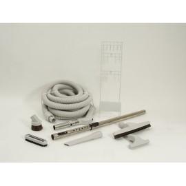 Ensemble pour aspirateur central - boyau 9 m (30') - brosse pour plancher - brosse à épousseter - brosse pour meubles - outils de coins - manchon téléscopique - support à outils - gris