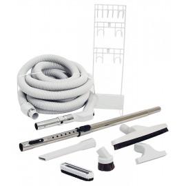 Ensemble pour aspirateur central - boyau 10 m (35') - brosse pour plancher - brosse à épousseter - brosse pour meubles - outils de coins - manchon téléscopique - support à outils - gris