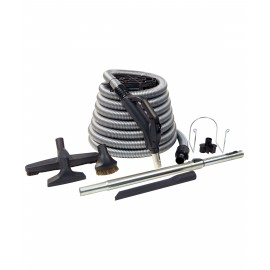 KIT FOR CENTRAL VACUUM HOSE SILVER 30'X1 3/8 W BUTTON AND TELESCOPIC WAND