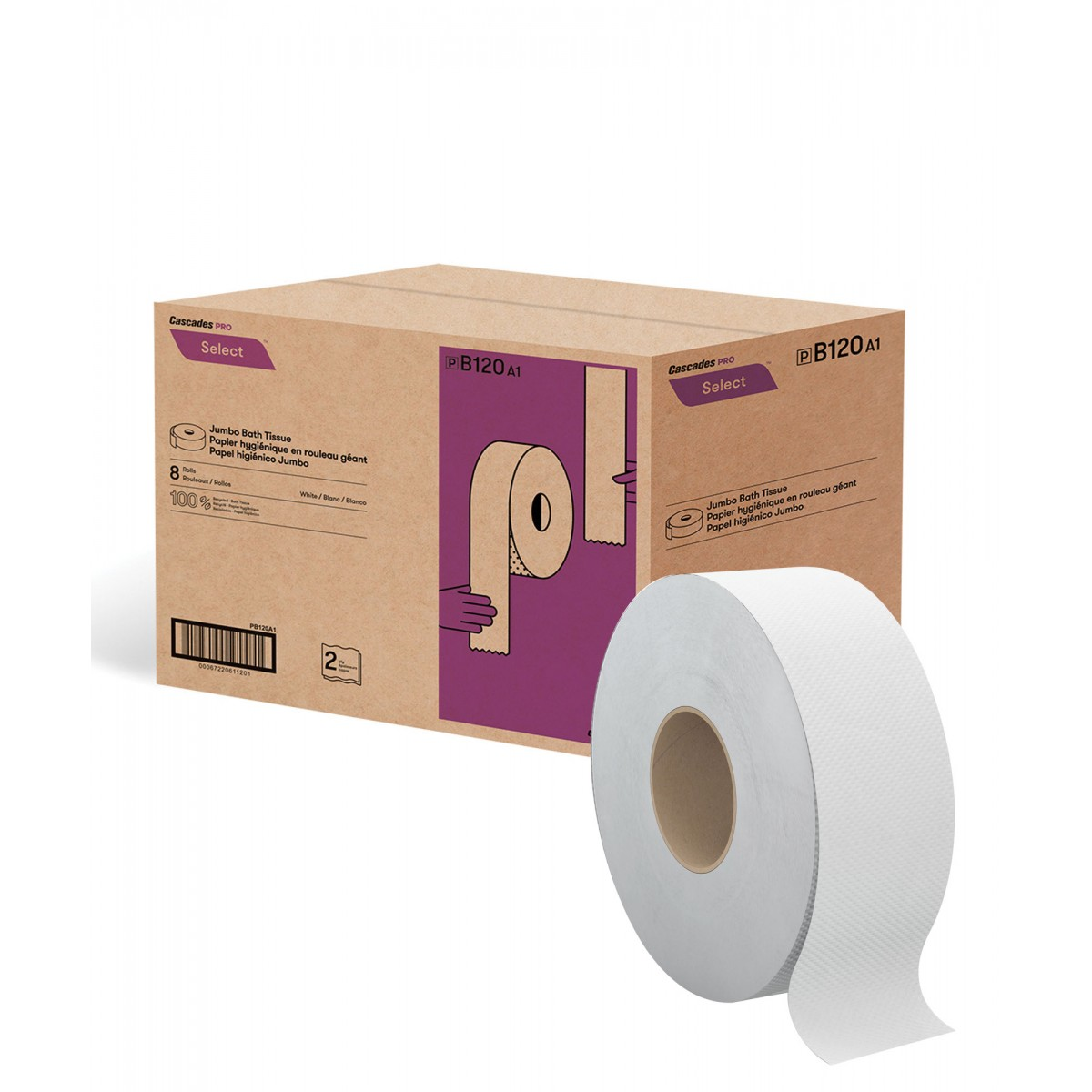 Paper Towels Jumbo Rolls: 900' CASCADES JUMBO BATH TISSUE, 2 PLY