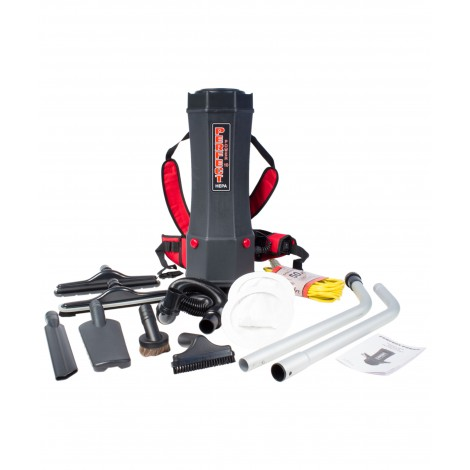 Back Pack Vacuum - 2.4gal (10 L) Tank Capacity - HEPA Filtration - with Accessories - Integrated Electric Outlet - Perfect P1001