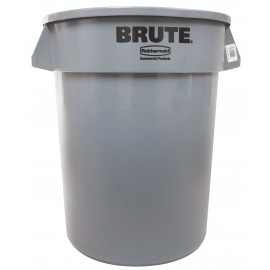 Round Trash Garbage Can Bin - 32 gal (121 L) - Grey - Rubbermaid RUB2632-16 GRAY