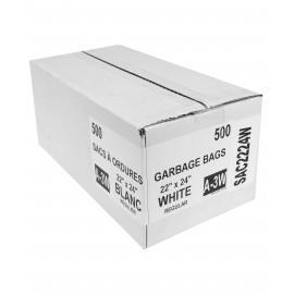 """Sacs à poubelle / ordures commercial - régulier - 22"""" x 24"""" (55,8 cm x 60,9 cm) - blanc - boîte de 500"""