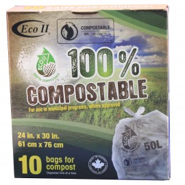 BAG FOR COMPOST - 24'' X 30'' - CLEAR - BOX/10