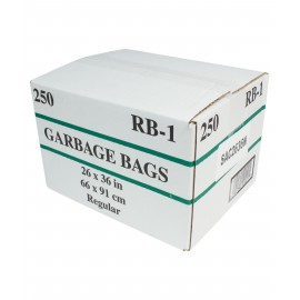 "Commercial Garbage / Trash Bags - Regular - 26"" x 36"" (66 cm x 91.6 cm) - Black - Box of 250"