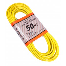 50' Extension Cord, 3 Wires, Grounded, 13 A, 125 V Yellow