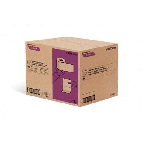 """Papier hygiénique standard - 2 épaisseurs - 4,25"""" x 4"""" (10,8 cm x 10,2 cm) - boîte de 48 rouleaux de 420 feuilles - blanc - Cascades Pro B160"""