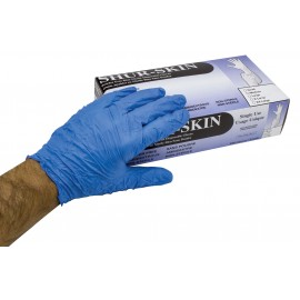 Gants jetables en nitrile - sans poudre - Shur-Skin - bleu - taille extra-large - 9-NITBL-3MIL-XL - boîte de 100