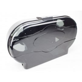 Double Universal Bathroom Tissue Dispenser - Standard Roll - Clear Black
