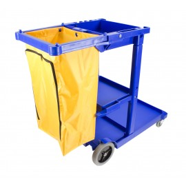 Janitor Cart with Front Casters & Non-Marking Rear Wheels - Polyester Garbage Bag Support - 3 Shelves - Blue