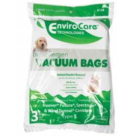 CANISTER VACUUM BAGS FOR HOOVER, FUTURA, SPECTRUM ET WIND TUNNEL - ANTI-ALLERGEN
