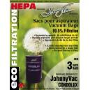 Sac microfiltre HEPA pour aspirateur central pour modèles CONDOLUX, JV600C, RHINOCW et RUV540 - paquet de 3 sacs