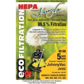 HEPA MICROFILTER VACUUM BAGS - NUMATIC NVM2B/ JOHNNY VAC JV402 - PKG/5