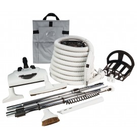 CENTRAL VACUUM KIT - 30' HOSE - POWER NOZZLE WESSEL WERK - DELUXE TOOLS - GREY
