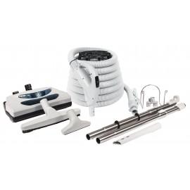 Ensemble pour aspirateur central avec boyau de 30' de type pompe à gaz et outils divers