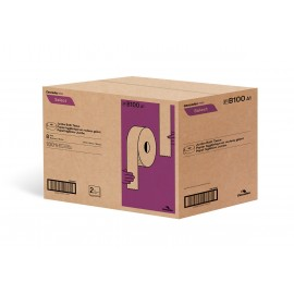 "Commercial Jumbo Bathroom Tissue - 2-Ply - 3.3 "" x 750' (8.4 cm x 228.6 m) - Box of 8 Rolls - White - Cascades Pro B100"