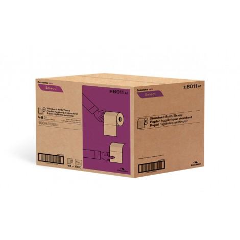 """Papier hygiénique standard - 1 épaisseur - 4,25"""" x 3.8"""" (10,8 cm x 9,7 cm) - boîte de 48 rouleaux de 1000 feuilles - blanc -Cascades Pro B011"""