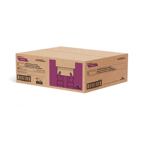 White Multifold Paper Towel - 16 Pack of 250 Sheets - Cascades H120