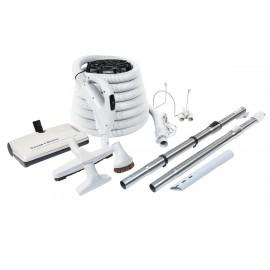 """Ensemble pour aspirateur central - boyau de 10 m (35"""") Value Flex - balai électrique de luxe Sweep Groom - brosse à plancher - brosse à épousseter - brosse pour meubles - outil de coins - 2 manchons télescopiques - supports - gris"""