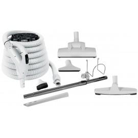 Ensemble pour aspirateur central - boyau 10 m (35') Value Flex - balai à air Wessel-Werk - brosse à plancher - brosse à épousseter - brosse pour meubles - outil de coins - manchon télescopique - supports à boyau et outils - gris