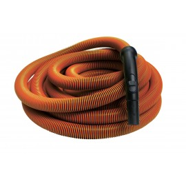 "Hose for Central Vacuum - 30' (9 m) - 1 1/4"" (32 mm) dia - Orange - Black Plastic Curved Handle"