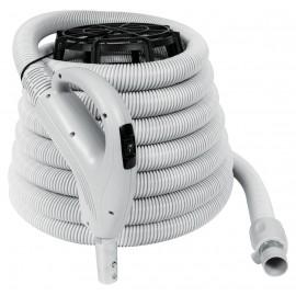 """Boyau pour aspirateur central - 9 m (30') - 35 mm (1 3/8"""") dia - gris - poignée pompe à gaz - bouton marche/arrêt - bouton-barrure - Value Flex - Plastiflex XV130138030BU"""